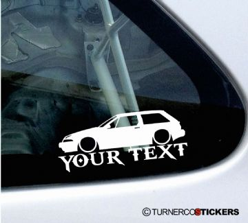 2x Lowered Volvo 480 Turbo (1986-1995)  YOUR TEXT custom car silhouette STICKERS